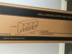 White Homestar wall hanging entryway shelf. NEW IN BOX