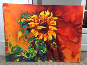 Sunflower painting on Canvas, 4ftx3ft. $30.00