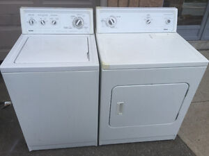 Kenmore white top load washer & front load electric dryer