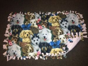 Dogs with pink back handmade fleece blanket