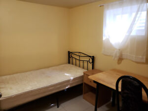 Furnished room in a basement