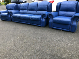 Recliner Blue Leather 3 Seater Sofa and 2 Chairs