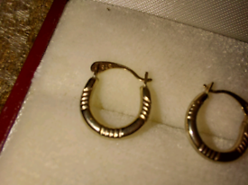 9ct gold childs earrings creole hoops fully hallmarked