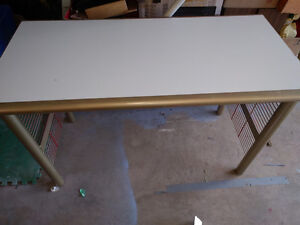 Solid metal frame desk (gold) with laminate top, good condition