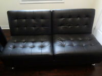 Black Leather Futon For Sale