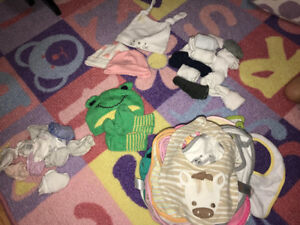 0-6 month girls bibs, socks, etc