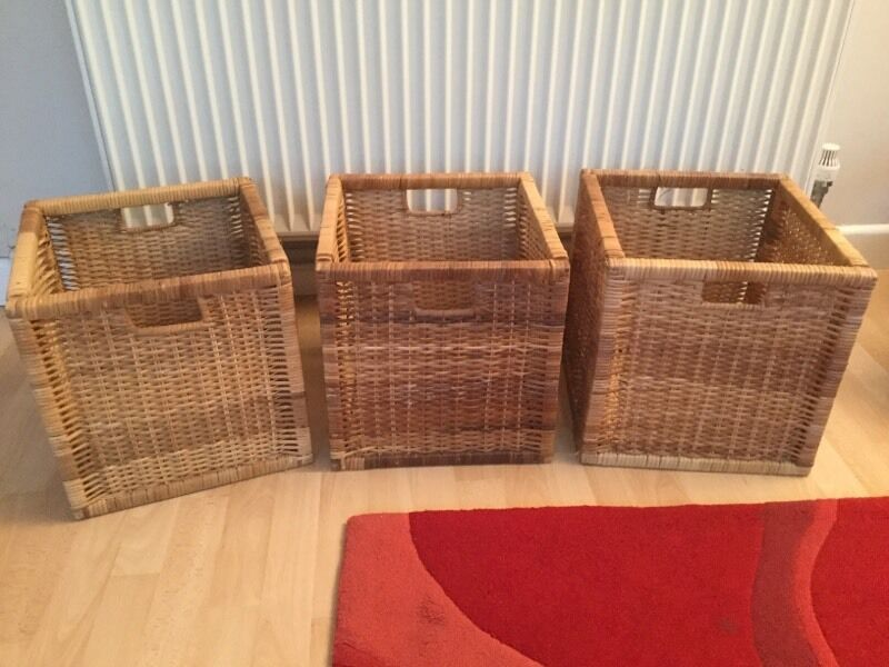 Set of 3 Ikea wicker basket storage boxes for Kallax units   Called Bran s. Set of 3 Ikea wicker basket storage boxes for Kallax units