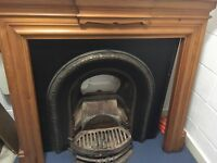 Cast Iron fireplace and pine surround