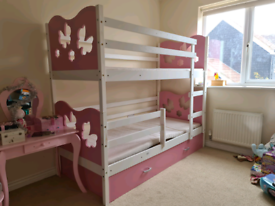 Beautiful pink and white children's butterfly bunk beds
