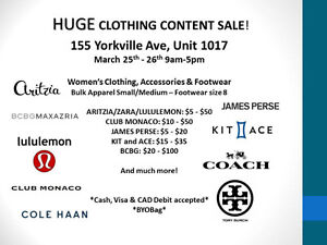 HUGE Clothing Content Sale THIS WEEKEND March 25th-26th