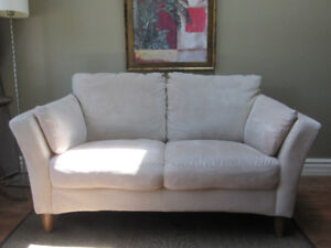 Beige microfiber couch