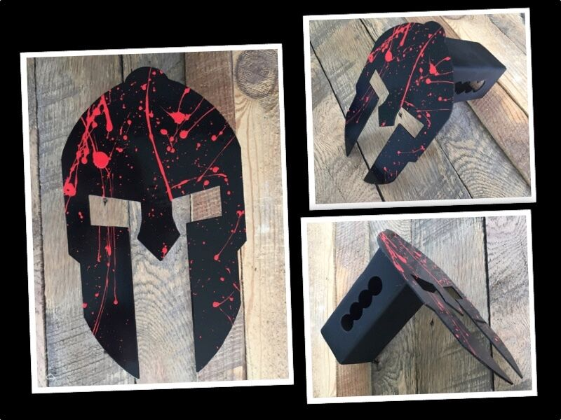 Powder Coated Steel Spartan Trailer Hitch Cover (Blood Splatter)