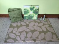 Green rug? 2 cushions, canvas and ornaments