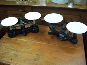 Antique scales with porcelain stands