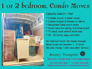 One, two bedroom and condo moves, insured and reliable