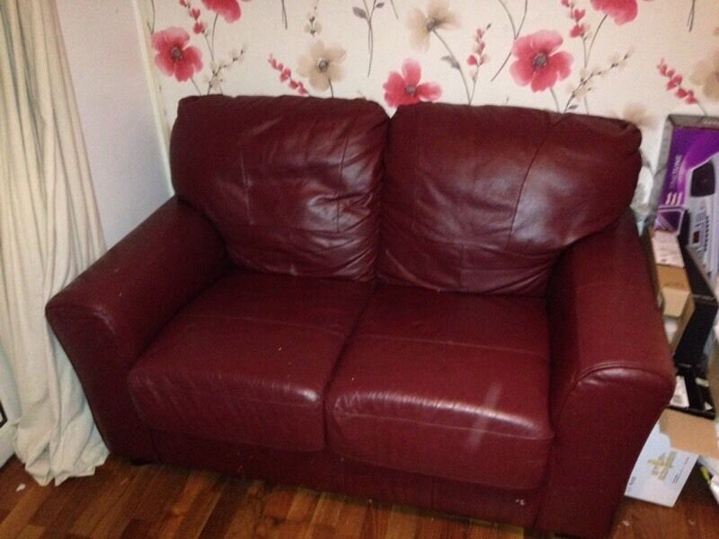 2x2 red leather sofas