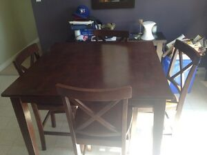 Pub style kitchen table solid wood 4 chairs