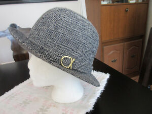 Classic Harris Tweed Walking Hat Grey Herringbone, Vintage