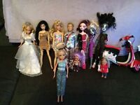 Monster high dolls and Barbie dolls