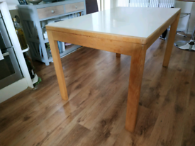White and solid wood extending table, Formica danish style 122/183 x76