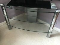 "Glass TV stand and 32"" LG TV and remote"