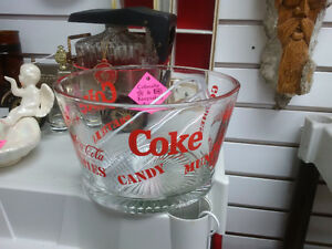 1980s Coca-Cola Clear Glass Snack Chip Bowl with Tongs Prince George British Columbia image 1