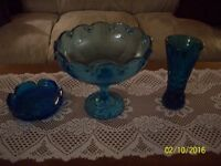 Beautiful Turquoise Blue Art Deco Cut Glass Vase 2-Other Pieces