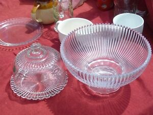 Glass Bowl and cheese and cracker dish and plate