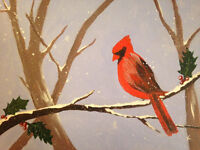 Winter Cardinal with Holly-Acrylic Painting Class