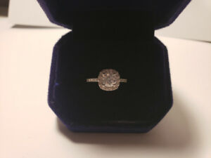 2.00 ct Diamond Cushion Halo Engagement Ring  with Appraisal