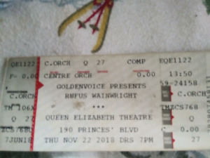 Rufus Wainright tix! Best offer! Hard copy tickets!