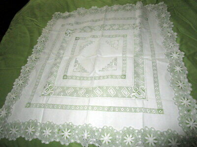 Vintage Fine Hand Crocheted White Lunch Cloth 31 x 35 Square Tablecloth