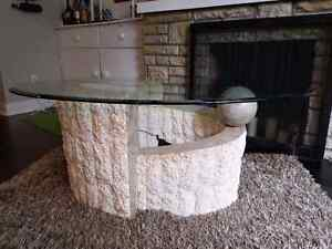 4 piece Catalina stone based, glass top coffee table set.