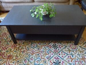 IKEA COFFEE TABLE BLACK W EXTENSION, STORAGE CABINET