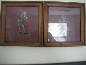FRAMED (WOODEN)  NEEDLEPOINT  WALLHANGING