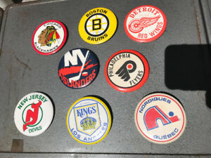 EIGHT YES 8 VINTAGE NHL TEAM 3 1/2 INCH PINS BUTTONS