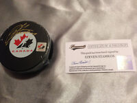 Steven Stamkos Autographed Team Canada Logo Puck with COA