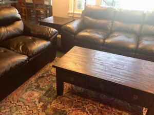 Black Leather Sofa / Couch and Loveseat