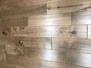 Hand scraped engineered hardwood