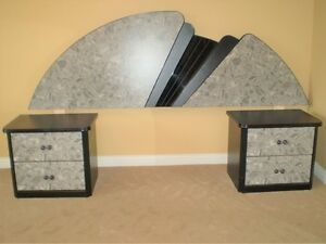 6 pc Grey Marbled and Black Lacquer Bedroom Set