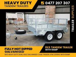 Buy New 8X5 Galvanised Tandem Trailer with Ramp for sale
