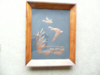 Vintage Copper Relief Art depicting Geese Flying over a Marsh.