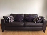 Brown leather large 2 seater