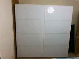 Ikea Pax Wardrobe 2m White Glass Sliding Doors with Accessories