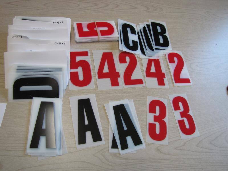 """Changeable Sign Letters 4"""" Black w Red Numbers Sidewalk Information Advertising"""