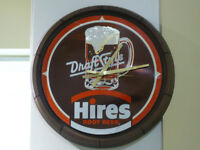 Vintage, Hires Rootbeer Clock, Rare, Great For Your Mancave!!