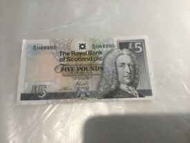 Old U.K. British Scotland £5 Banknote 2005