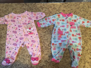Baby girl sleepers (size 0-3 months)