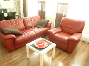 Comfortable convertible leather sofa and an armchair (recliner)