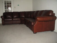 Classic 100% Real Leather Sectional, Paid $6500, Can Deliver